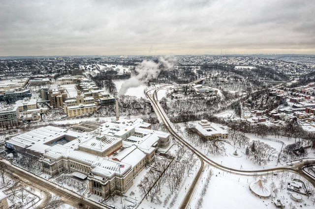 View of the Natural history museum and Carnegie Mellon University in winter from the Cathedral of Learning HDR