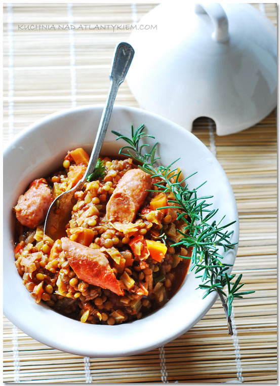 Spanish lentils and Italian sausage pot