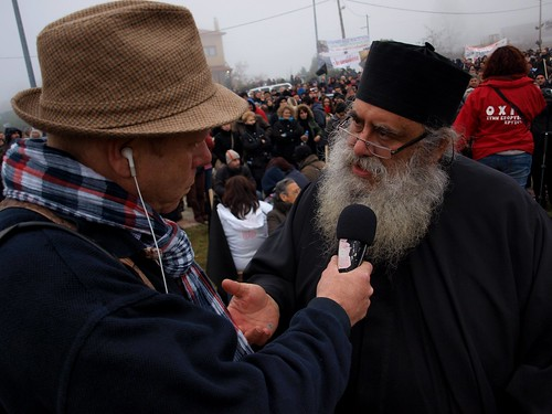 Greek priest for town protesting controversial mining project speaks to press by Teacher Dude's BBQ