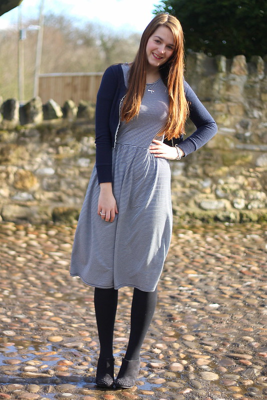 Zara navy cardigan, Matalan striped midi dress, Tesco ankle boots