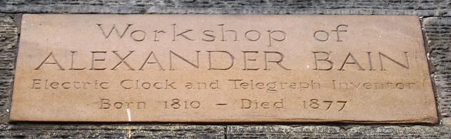 Photo of Alexander Bain stone plaque