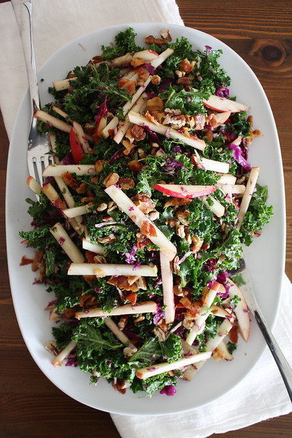 kale, apple + pancetta salad