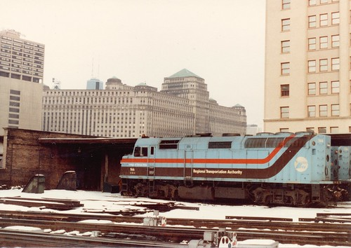 The engine servicing area at Chicago's NorthWestern Station.  Chicago Illinois.  January 1984. by Eddie from Chicago