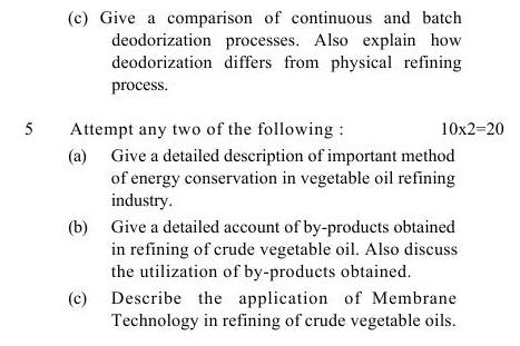 UPTU B.Tech Question Papers -TOT-602- Refining of Oils