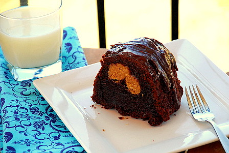 Chocolate Peanut Butter-Stuffed Bundt Cake