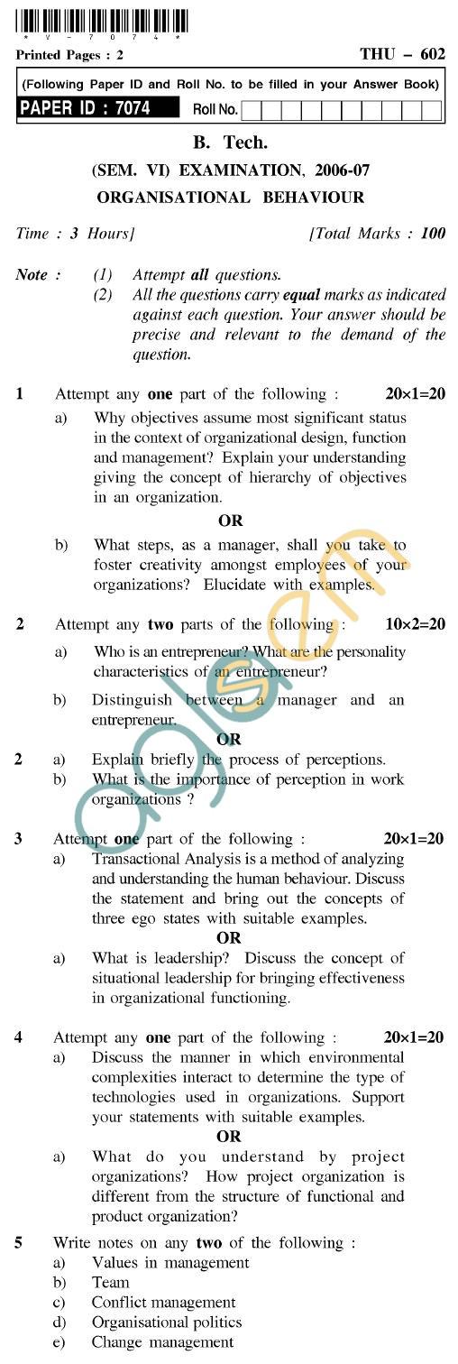 UPTU B.Tech Question Papers - THU-602 - Organisational Behaviour