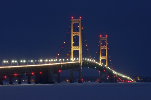 longexposure bridge blue winter snow ice water night lights one frozen unitedstates michigan towers lakemichigan greatlakes infrastructure bigmac upperpeninsula 1minute suspensionbridge i75 lakehuron midwinter mackinacbridge stignace lightstreak mackinaw mdot straitsofmackinac tollbridge northernmichigan interstate75 mackinawcity michigandepartmentoftransportation mackinaccounty maizeandblue lowerpeninsula shippingchannel 60seconds mightymac bridgeviewpark mackinacbridgeauthority