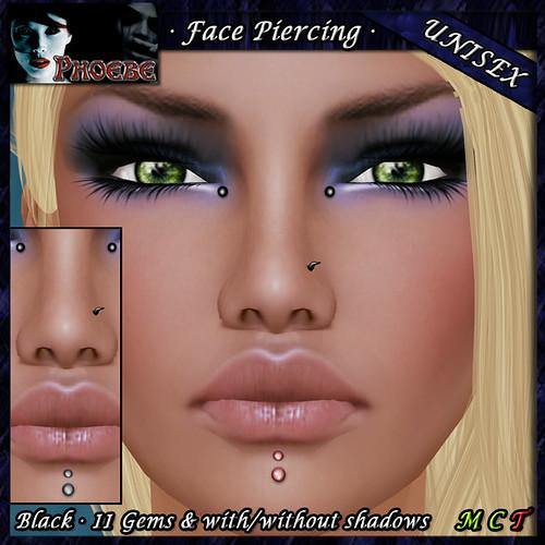 P Unisex Face Piercing R1 ~Black-Gems~