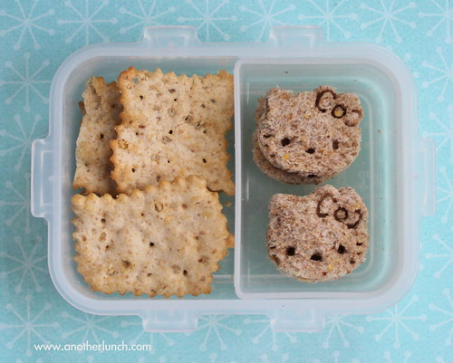 Snack Hello Kitty bite-size sandwiches and crackers