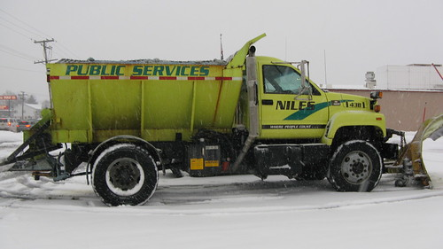 Niles Public Services  GMC  snowplow truck.  Niles Illinois.  Tuesday, March 5th, 2013. by Eddie from Chicago