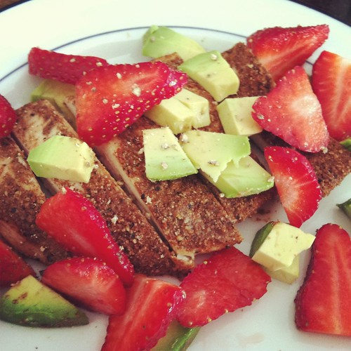 Mexican chicken, avocado, and strawberries