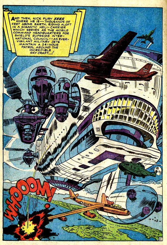 Strange Tales 135 Helicarrier splash page by Kirby 1965