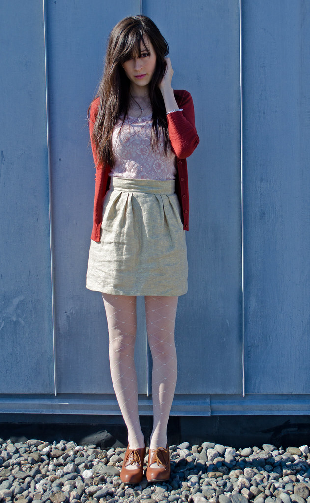 Gold linen skirt