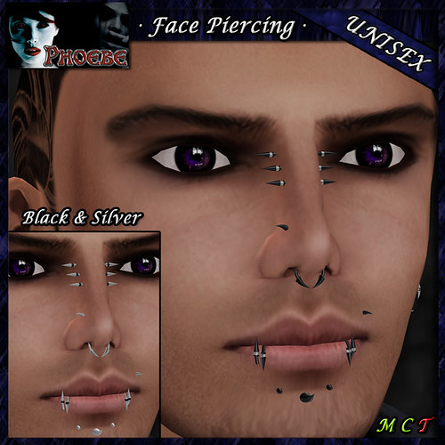 P Unisex Face Piercing ~ Claws 2 ~ Black & Silver 2