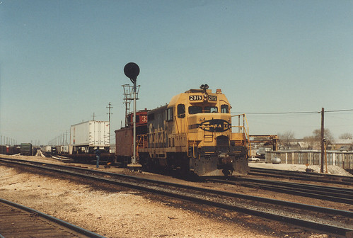 Switching the south hump at the Atchison, Topeka & Santa Fe Railroad's Corwith Yard facility.  Chicago Illinois.  Aril 1984. by Eddie from Chicago