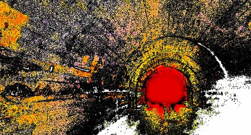 red orange abstract yellow purple tunnel