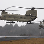 Two U.S. Army Chinook CH-47 helicopters