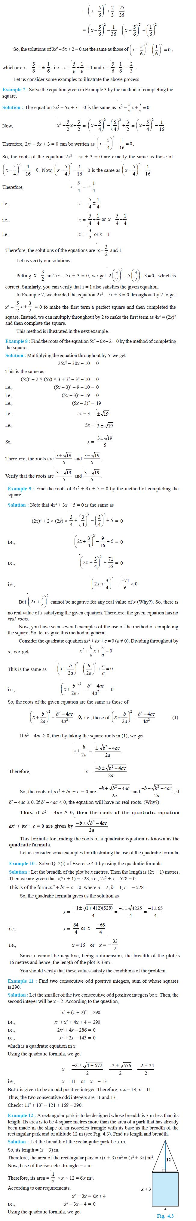 NCERT Class X Maths: Chapter 4 - Quadratic Equations