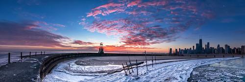 panorama lake chicago color tower ice beach water skyline clouds sunrise frozen illinois nikon stitch michigan jetty north sigma hancock 1020mm avenue d90 cs5