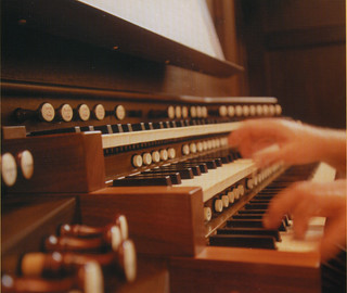 Closeup of the keyboard of the Hill Memorial Organ, designed by the C.B. Fisk Co. and installed in 2001