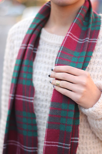 over-sized sweater + tartan