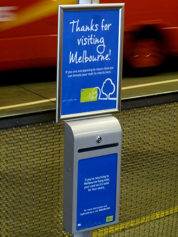 Donate your unwanted Myki card - Skybus terminal, Melbourne