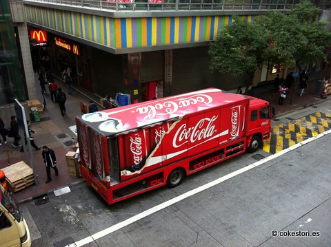 Swire Coca-Cola delivery truck outside Wanchai Station, Hong Kong by cokestories