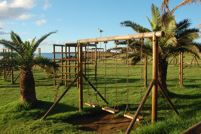 Wooden Playground Near Hanga Roa