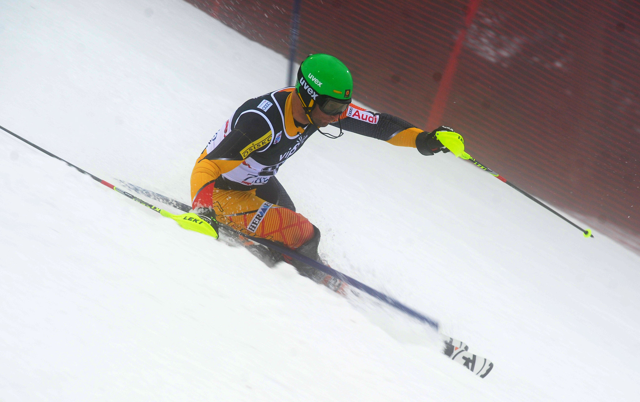 Mike Janyk in the men's World Cup slalom in Zagreb, Croatia.