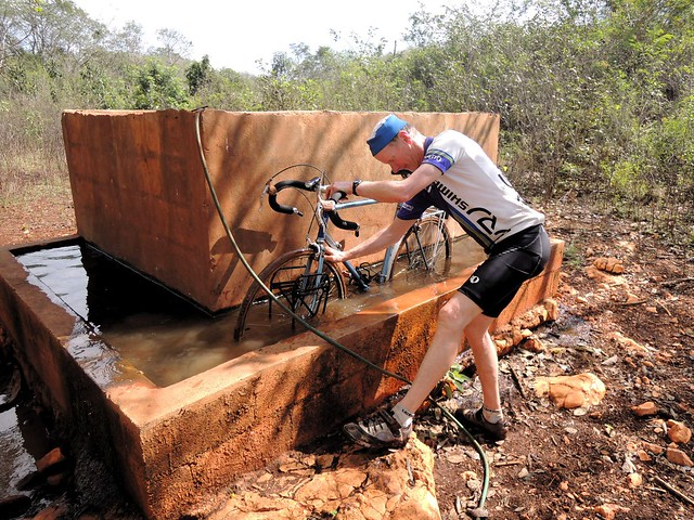 Bike cleaning in the cattle trough by bryandkeith on flickr