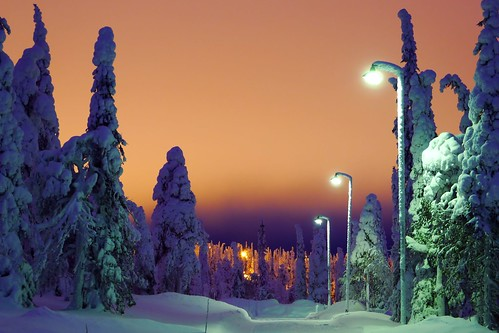 winter snow finland lapland kuusamo sodium lightpollution ruka