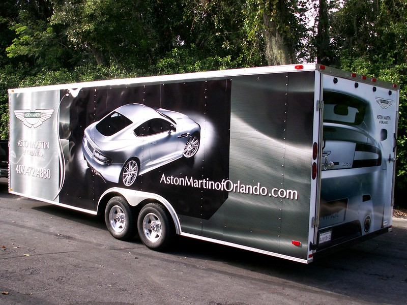 Aston Martin trailer wrap by TechnoSigns in Orlando