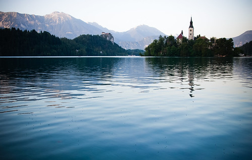 travel blue sunset summer mountain alps castle church nature water island see nikon europe silent natural peaceful surface slovenia alpine silence bled slovenija slowenien alpen tranquil burg lakebled jezero d90