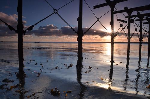 light sea sky water clouds sunrise reflections lough waves jetty peaceful belfast calm burst carrick carrickfergus