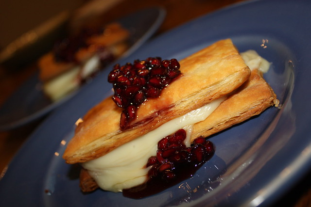 Brie Napoleon with Pomegranate Compote