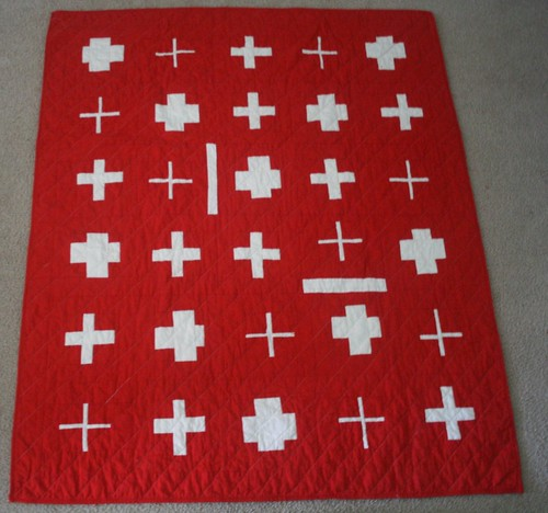 Swiss Cross Quilt in Red