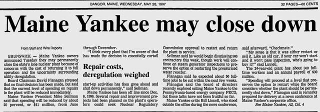 Page 1A Bangor Daily News 28 May 1997