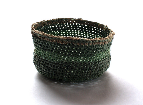 Basket crocheted with plarn