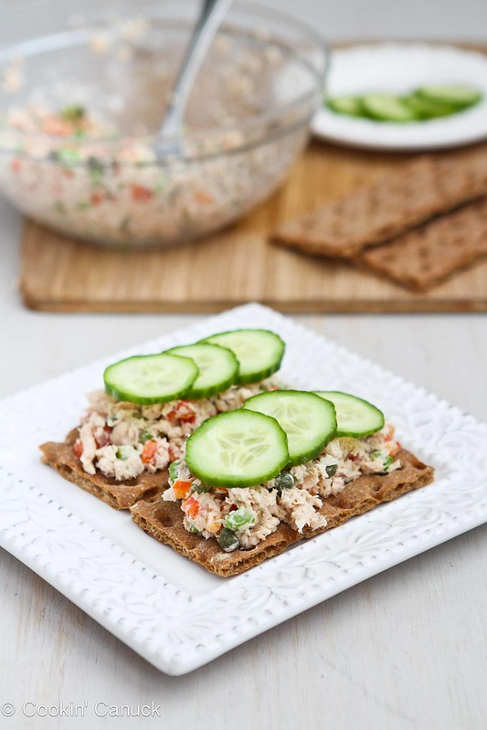 Low-Fat Salmon Salad Sandwich Recipe with Capers #recipe #lowfat