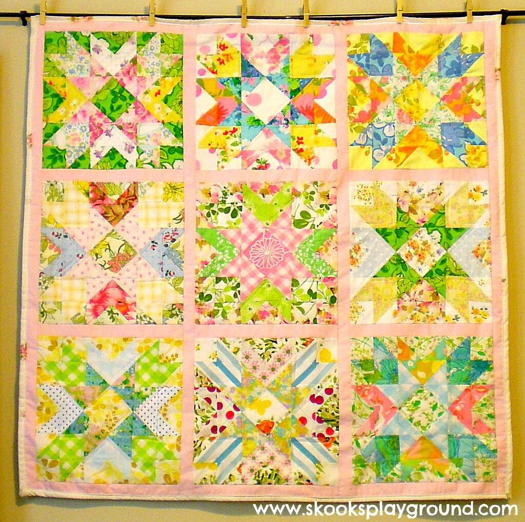 Kiwi's Vintage Sheet Baby Quilt