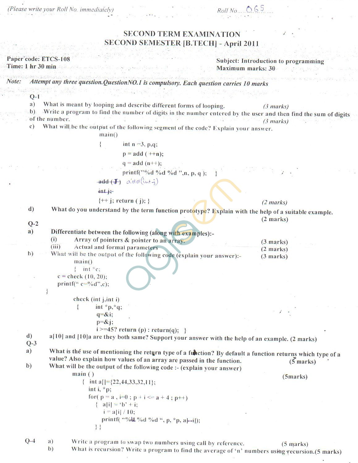 GGSIPU Question Papers Second Semester – Second Term 2011 – ETCS-108