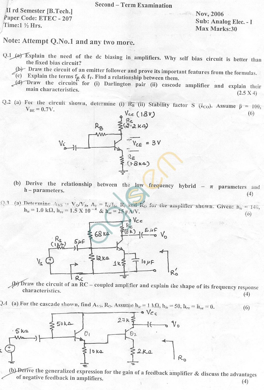 GGSIPU Question Papers Third Semester – Second Term 2006 – ETEC 207