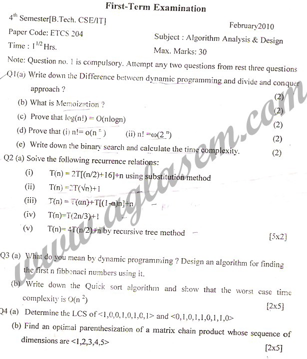 GGSIPU Question Papers Fourth Semester – First Term 2010 – ETCS-204