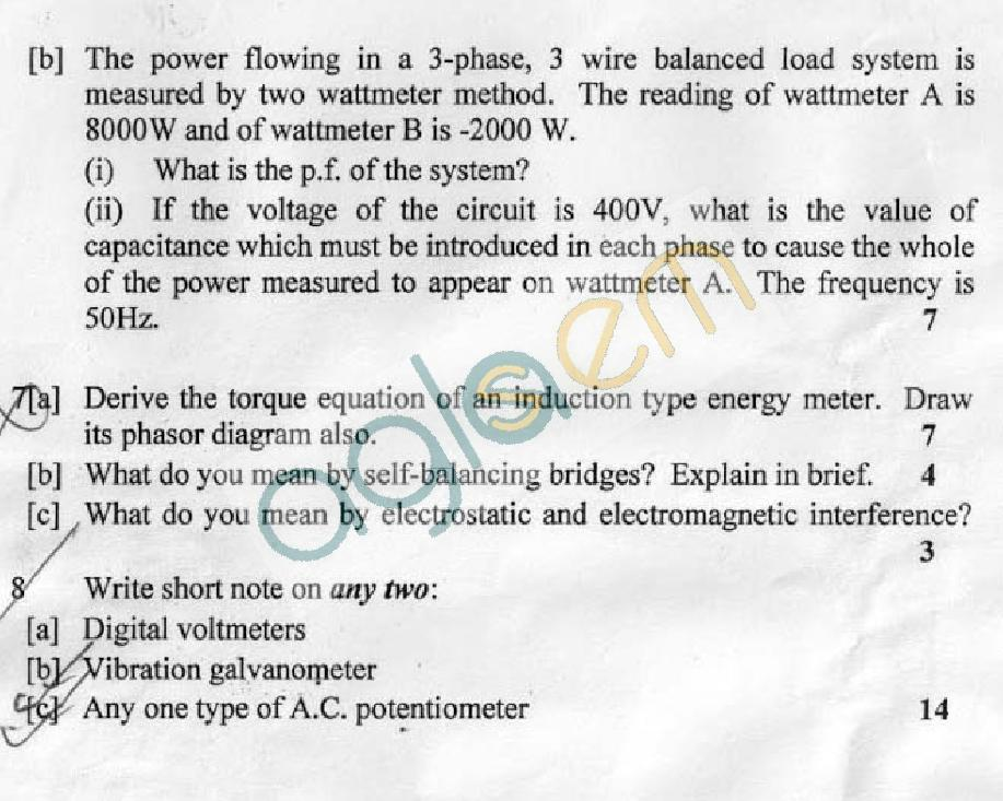 DTU Question Papers 2011 - 3 Semester - End Sem - EE-EEE-205