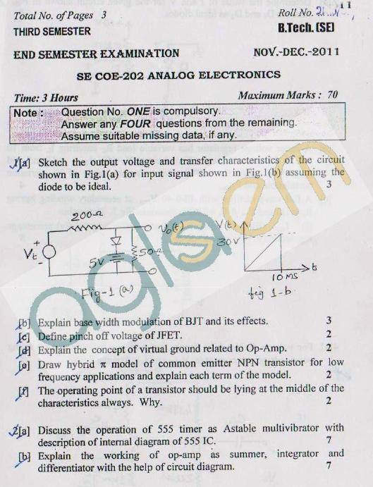 DTU Question Papers 2011 - 3 Semester - End Sem - COE-SE-202