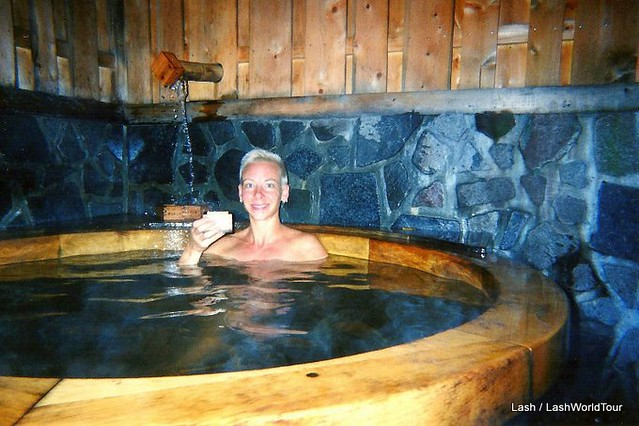 Lash enjoying onsen and sake