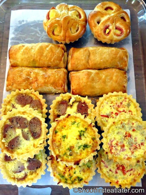 ham & cheese roll P50, sausage quiche, quiche Lorraine, quiche tinapa P85 chicken curry turnover P70