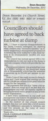 Down Council wastes financial opportunity with renewable energy at Drumnakelly - 5th Dec 2012 by CadoganEnright