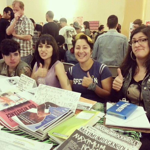 Cristy C. Road, Suzy X, Chula Doula and Mariam Bastani tabling at #poczines table at #lazinefest 2013