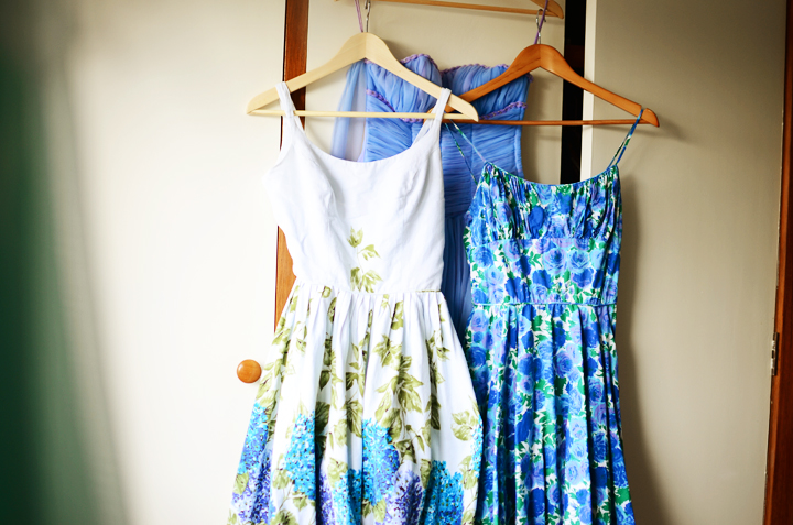two blue vintage dresses